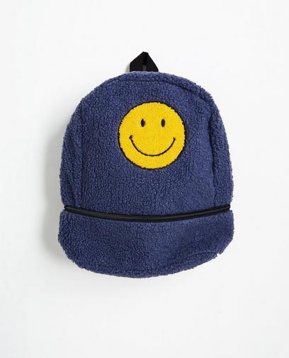Bouclé rugzak met smiley